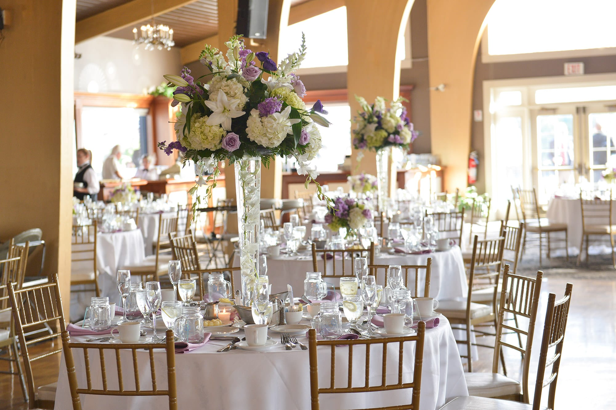 An intricate tablesetting and centerpiece in the Danversport Harborview Ballroom