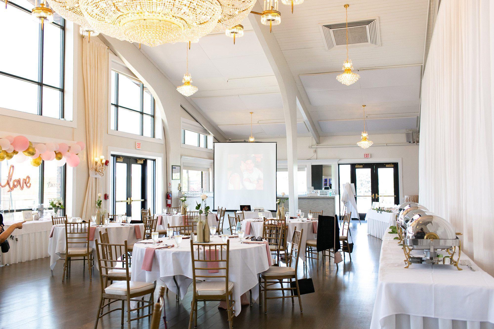 Bridal shower decor in Harborview Ballroom at Danversport in Danvers, Massachusetts
