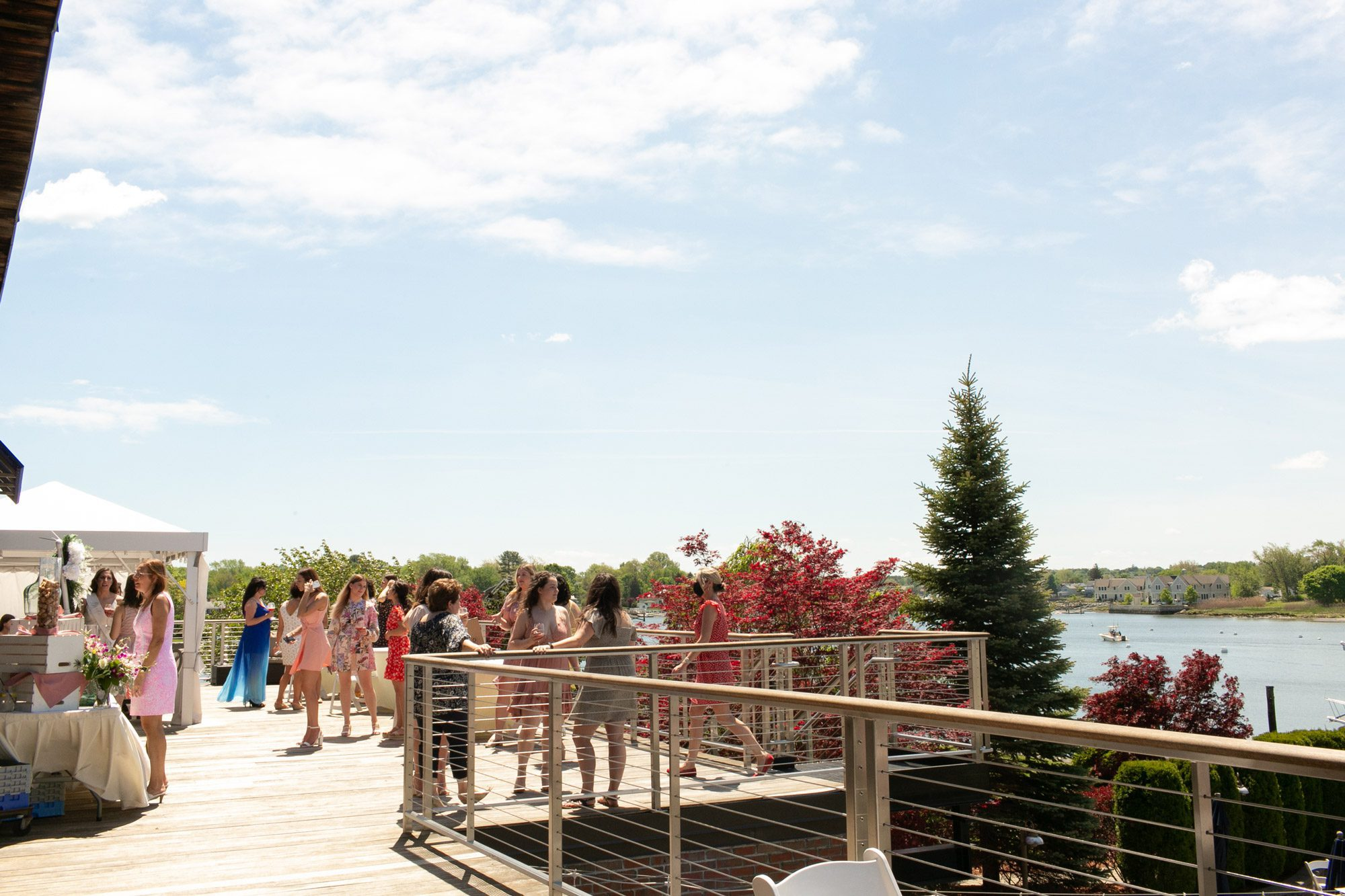 The deck attached to the Harborview Ballroom at Danversport Marina in Danvers, Massachusetts