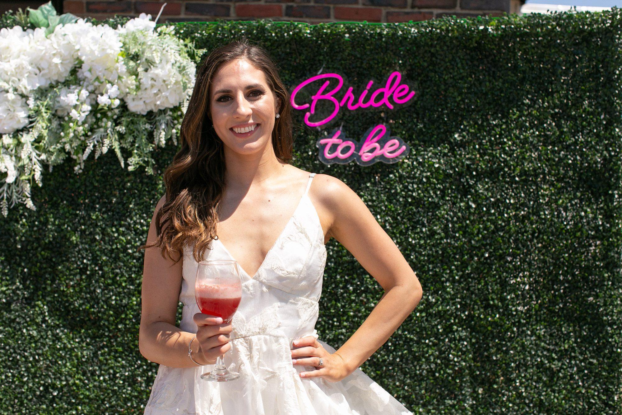 The bride at her bridal shower at Danversport in Danvers, Massachusetts