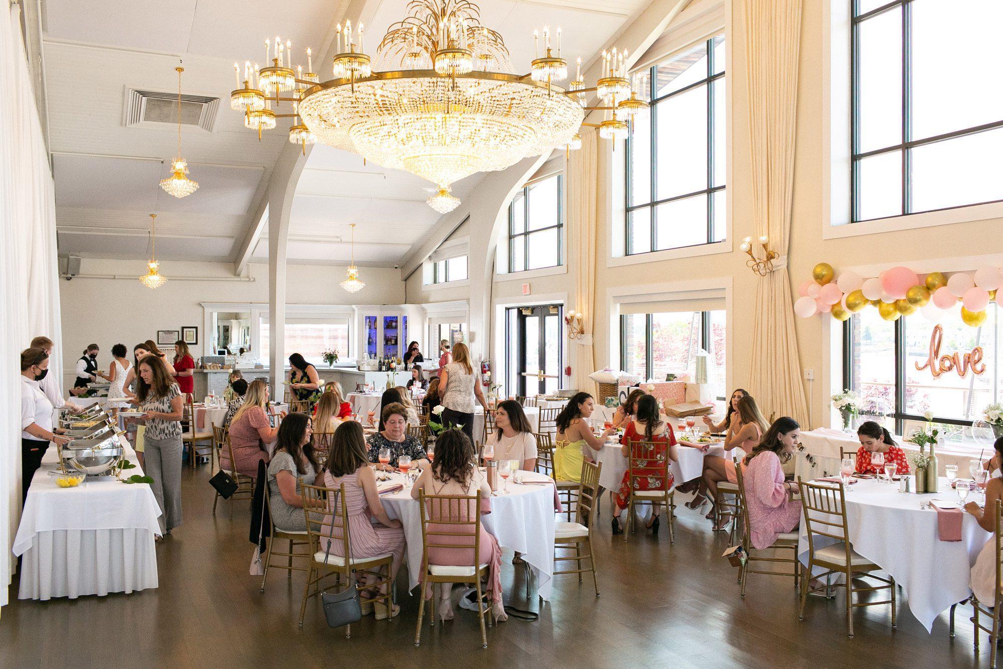 A bridal shower in Harborview Ballroom at Danversport in Danvers, Massachusetts
