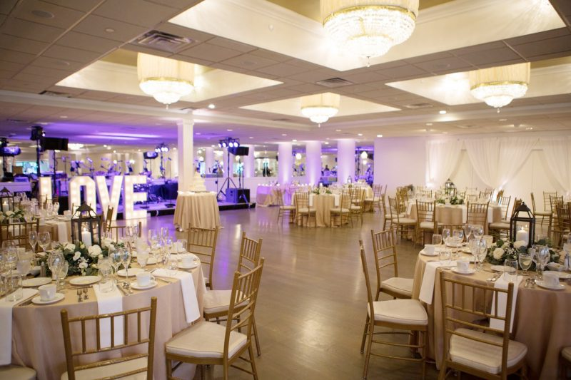 Terrace ballroom decorated for a wedding at Danversport