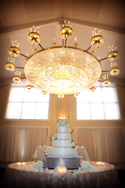 Wedding Cake under Chandelier
