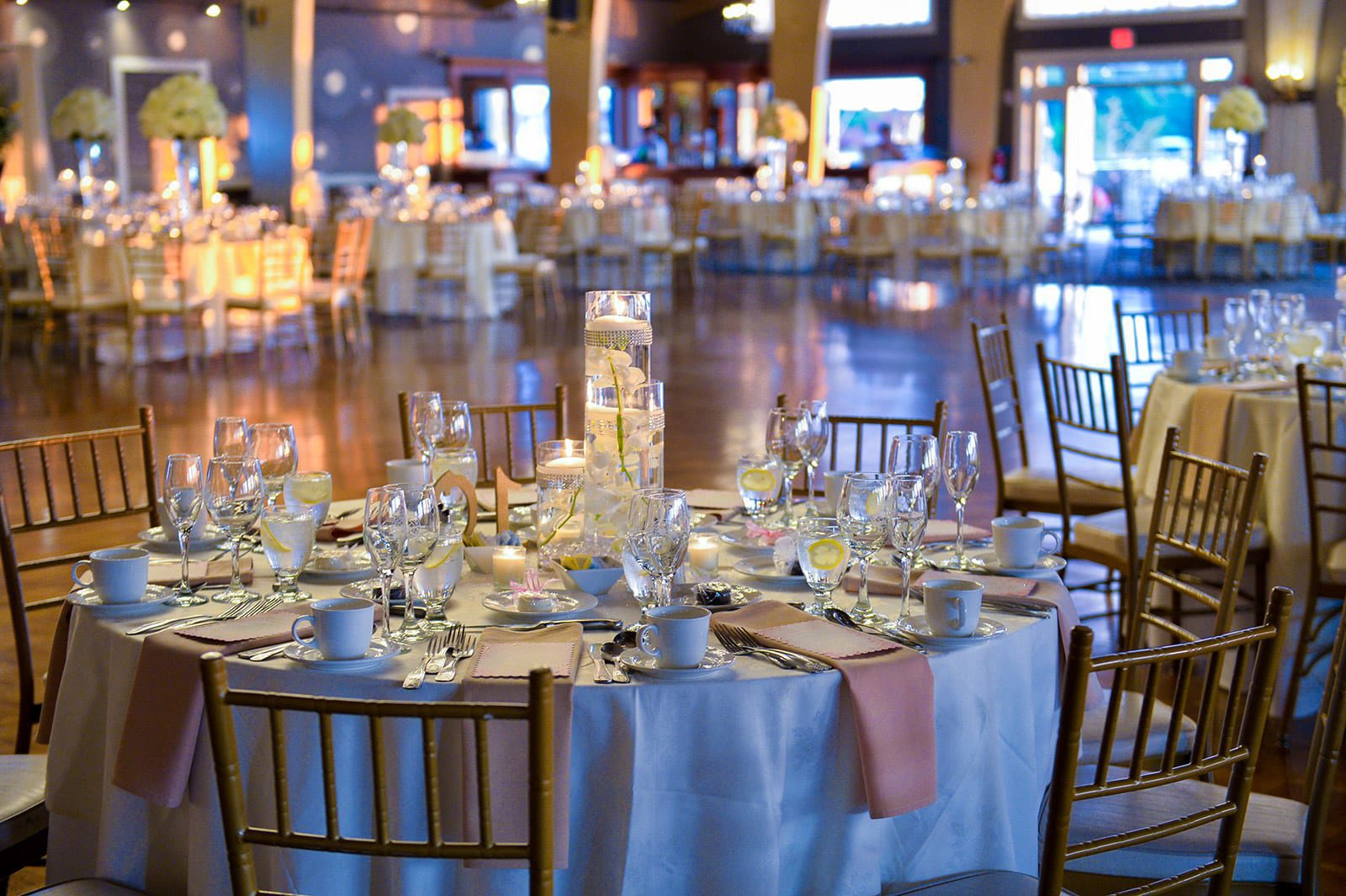 An intricate tablesetting in the Danversport Harborview Ballroom