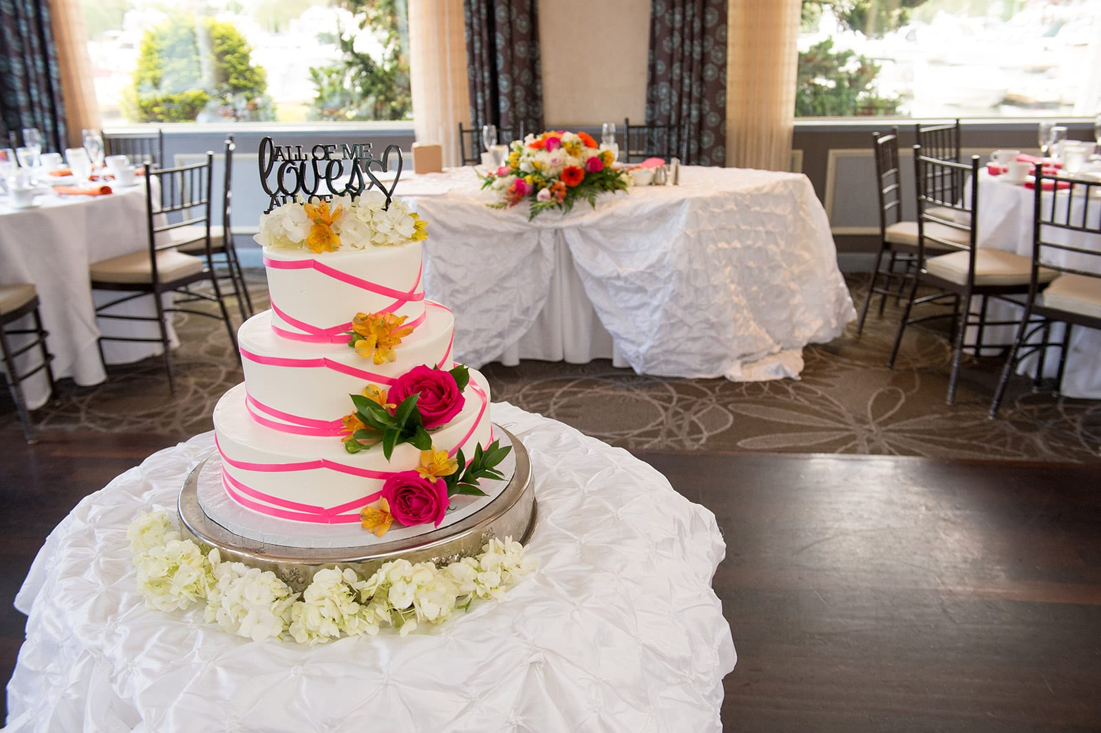 A colorful wedding cake in Lighthouse Point