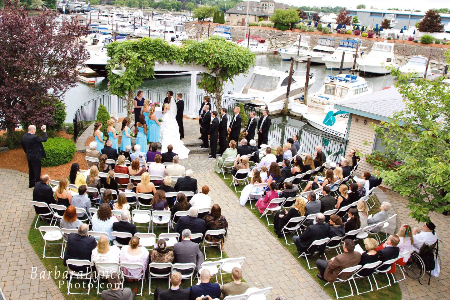 Wedding ceremony at the Danversport Yacht Club Pergola