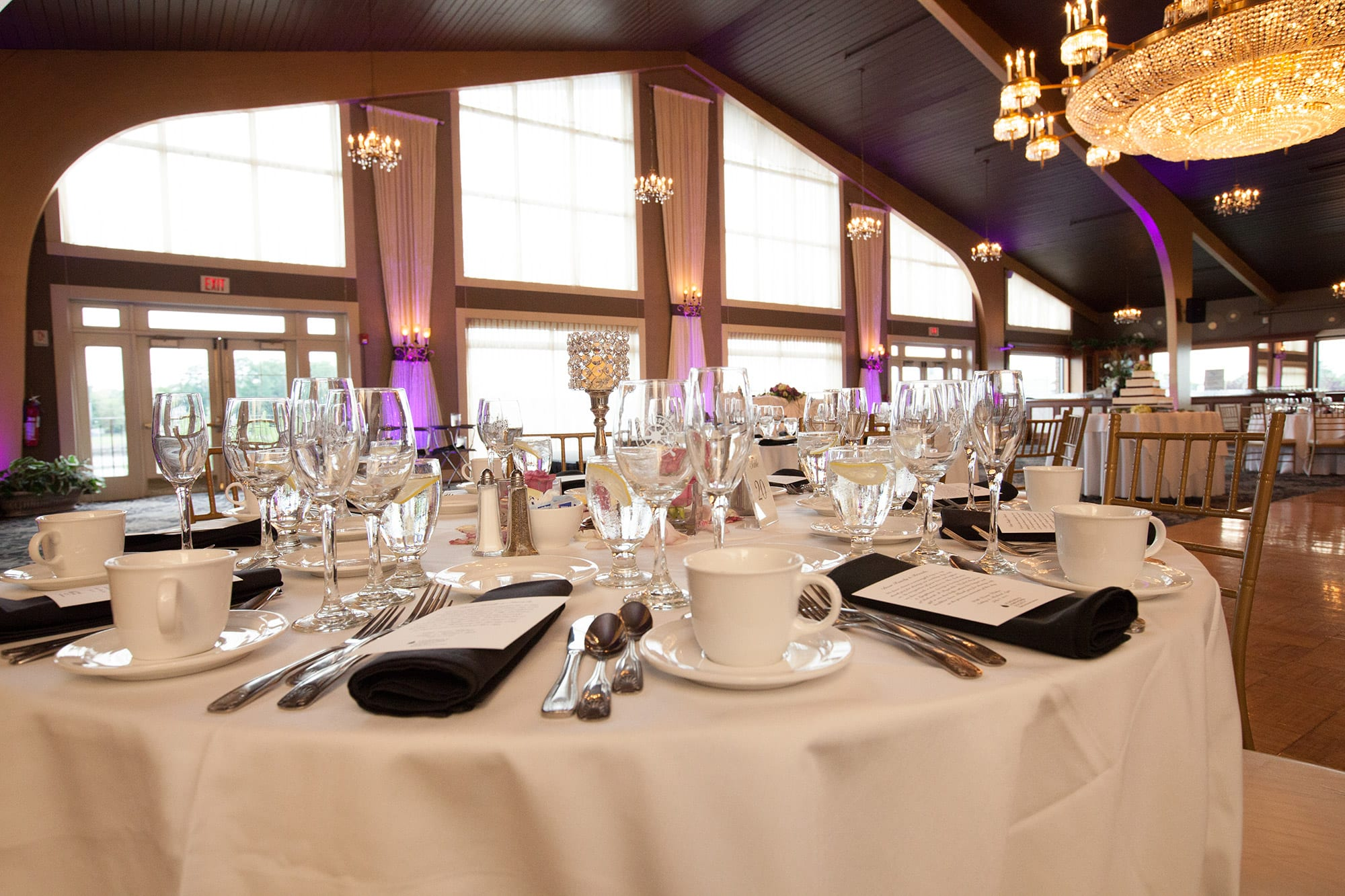 An intricate tablesetting in the Danversport Harborview Ballroom