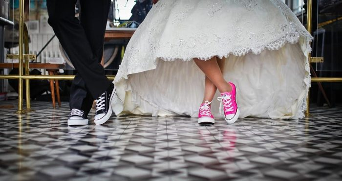 Modern Chic Bride and Groom in colorful converse
