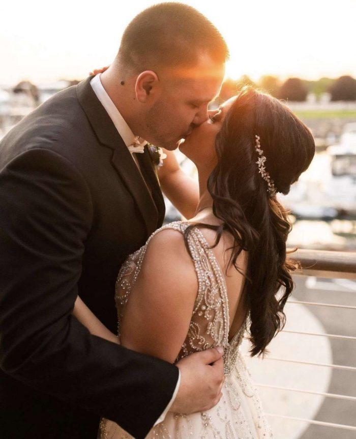 Amanda and Curtis sunset kiss