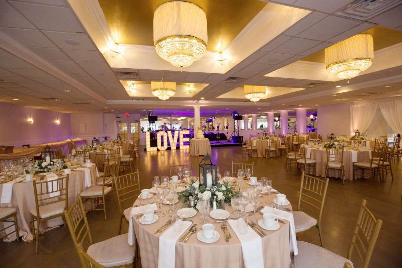 The Waterfront Room at Danversport decorated for a wedding