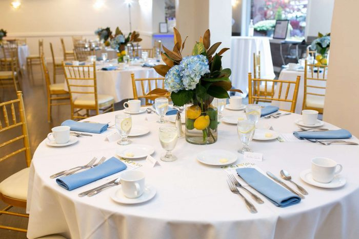 Tablescape in the Waterfront Room at Danversport