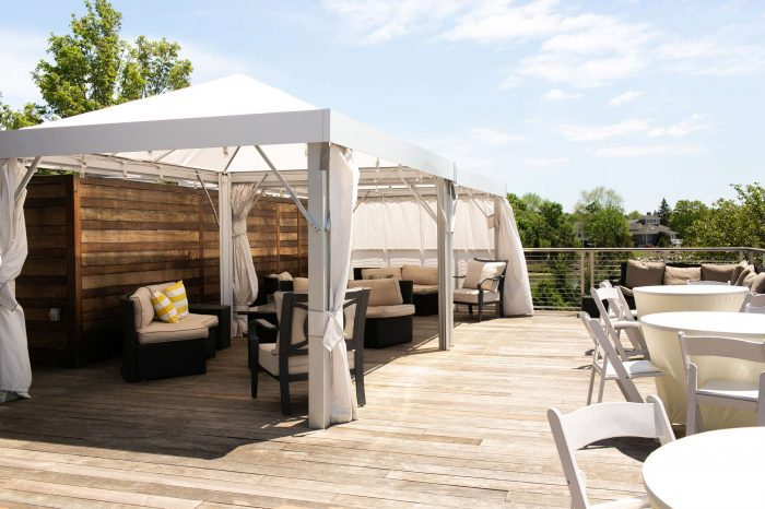The Sun Deck sitting area attached to the Harborview Ballroom at Danversport in Danvers, Massachusetts